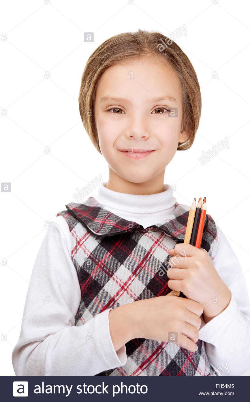 smiling little girl with pencils - Stock Image