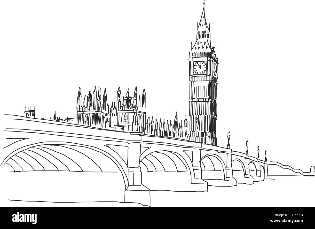 Hand drawn Popular view Big Ben and Westminster Bridge Outline Vector Sketch - Stock Vector