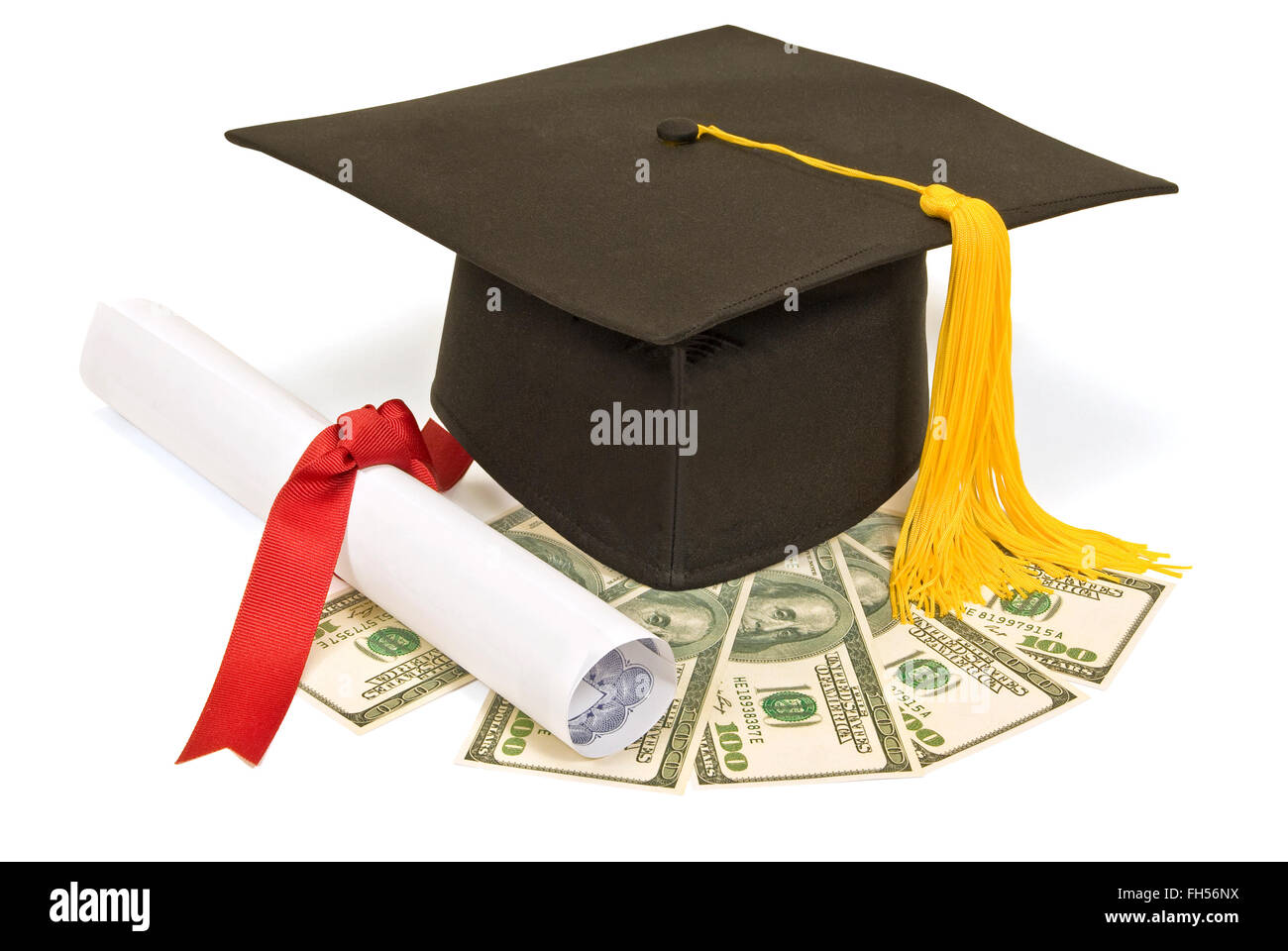 Graduation Hat With Money - Stock Image