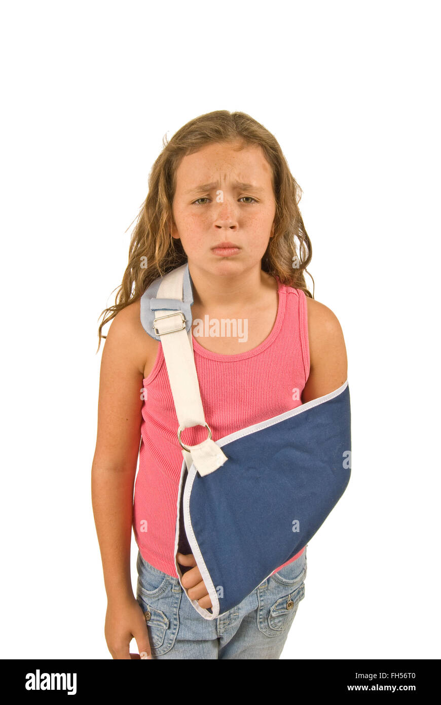 Injured Little Girl With Arm Sling - Stock Image