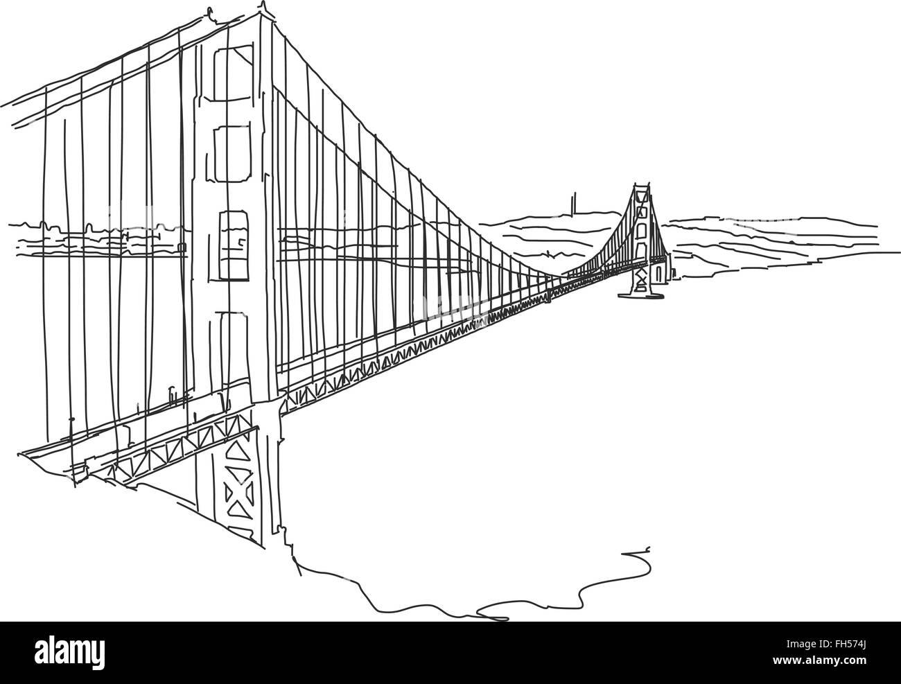 Hand drawn Golden Gate, San Francisco. Vector Outline Scribble - Stock Image