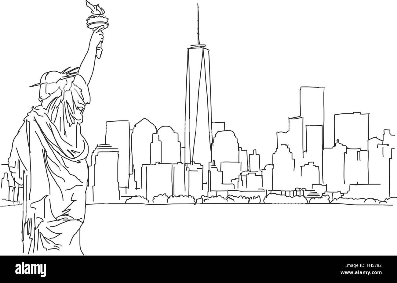 Free hand sketch of New York City skyline. Vector Outline Scribble - Stock Image