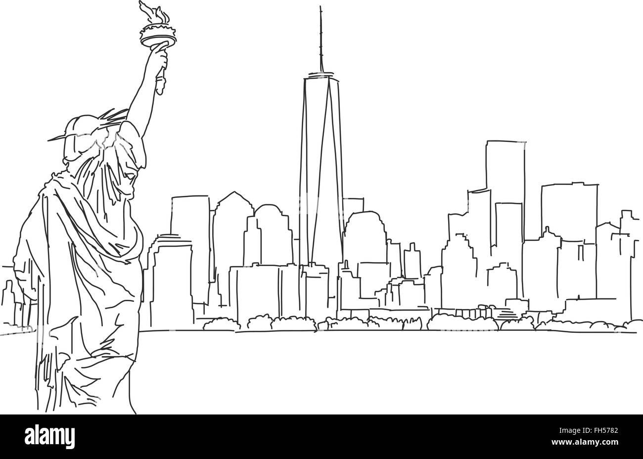 Free Hand Sketch Of New York City Skyline Vector Outline Scribble