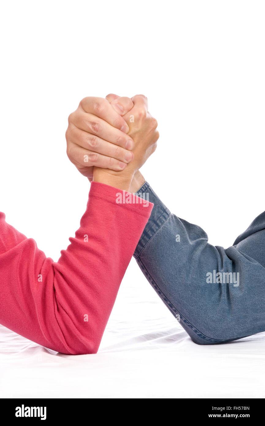 Men Versus Women Stock Photo