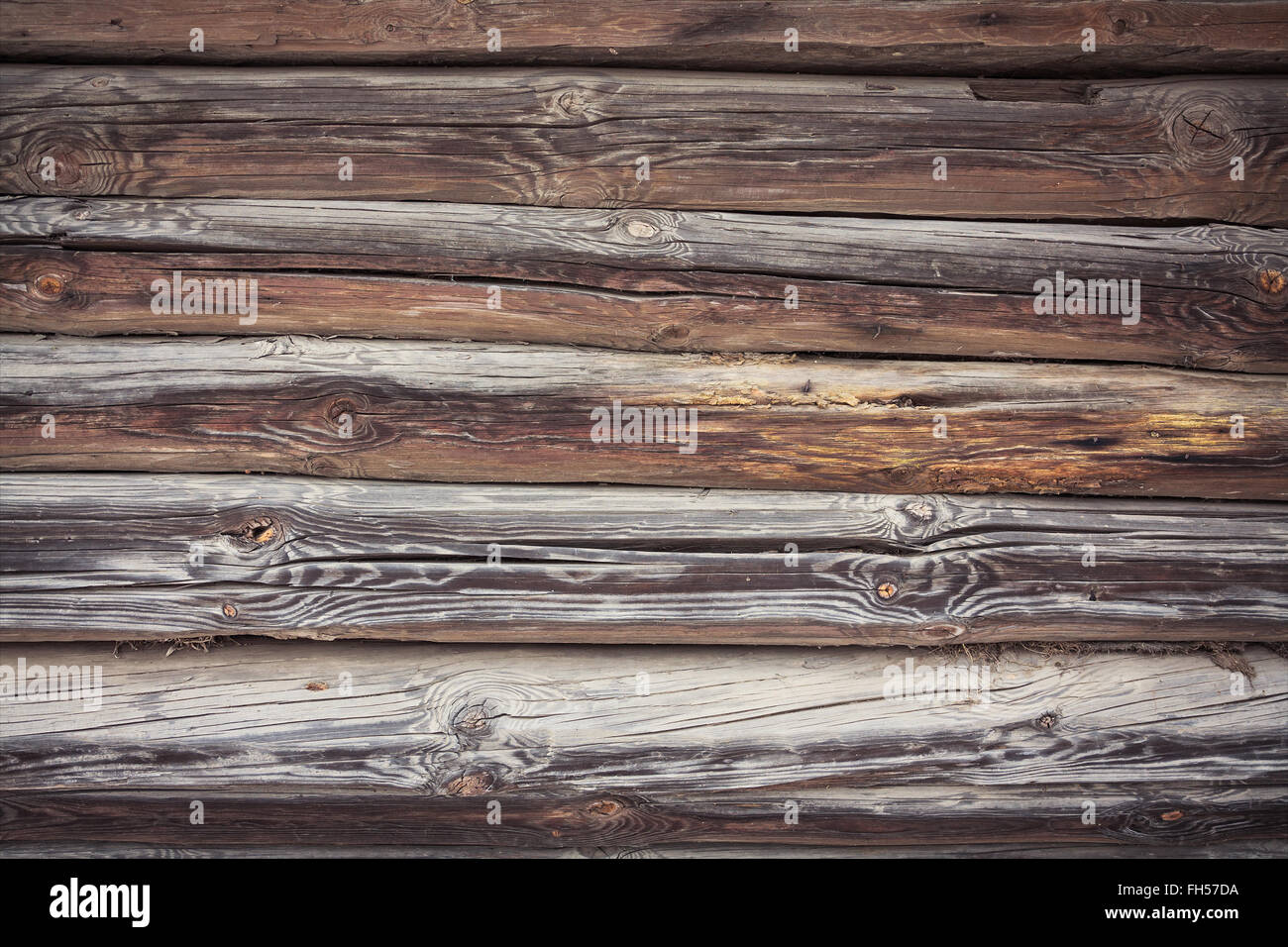 Rustic Log Cabin Wall - Stock Image