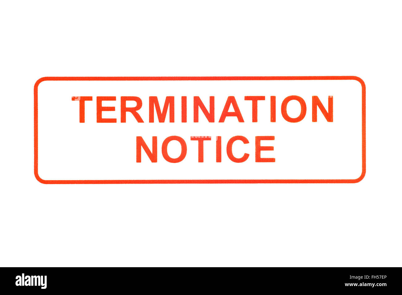 Termination Notice Rubber Stamp - Stock Image