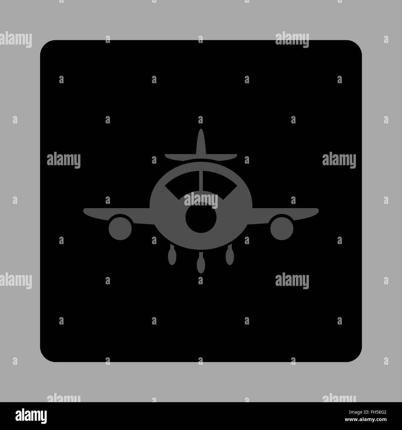 Aviation Rounded Square Button - Stock Image