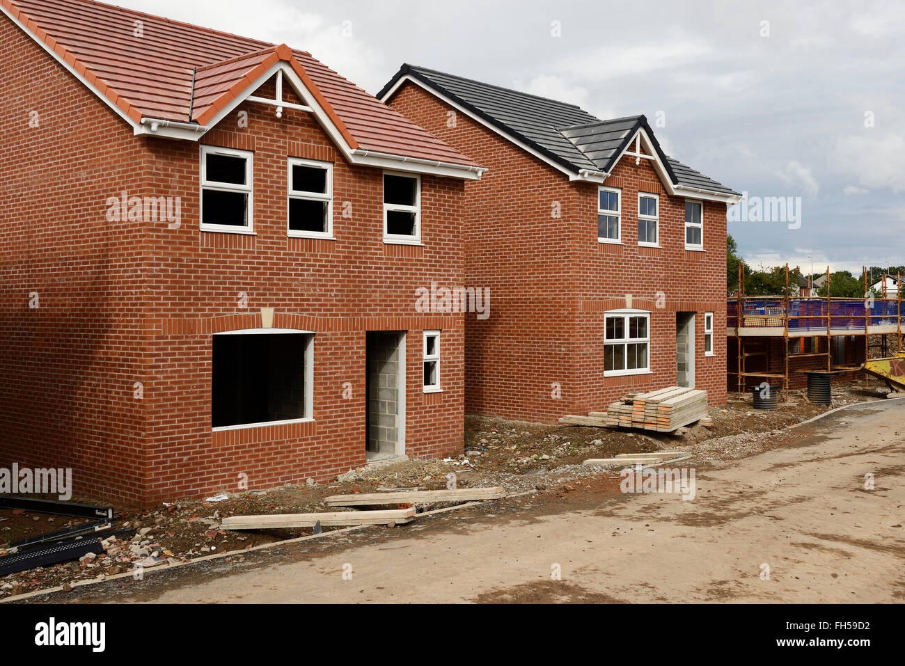 A construction site of new build houses in Lancashire UK - Stock Image