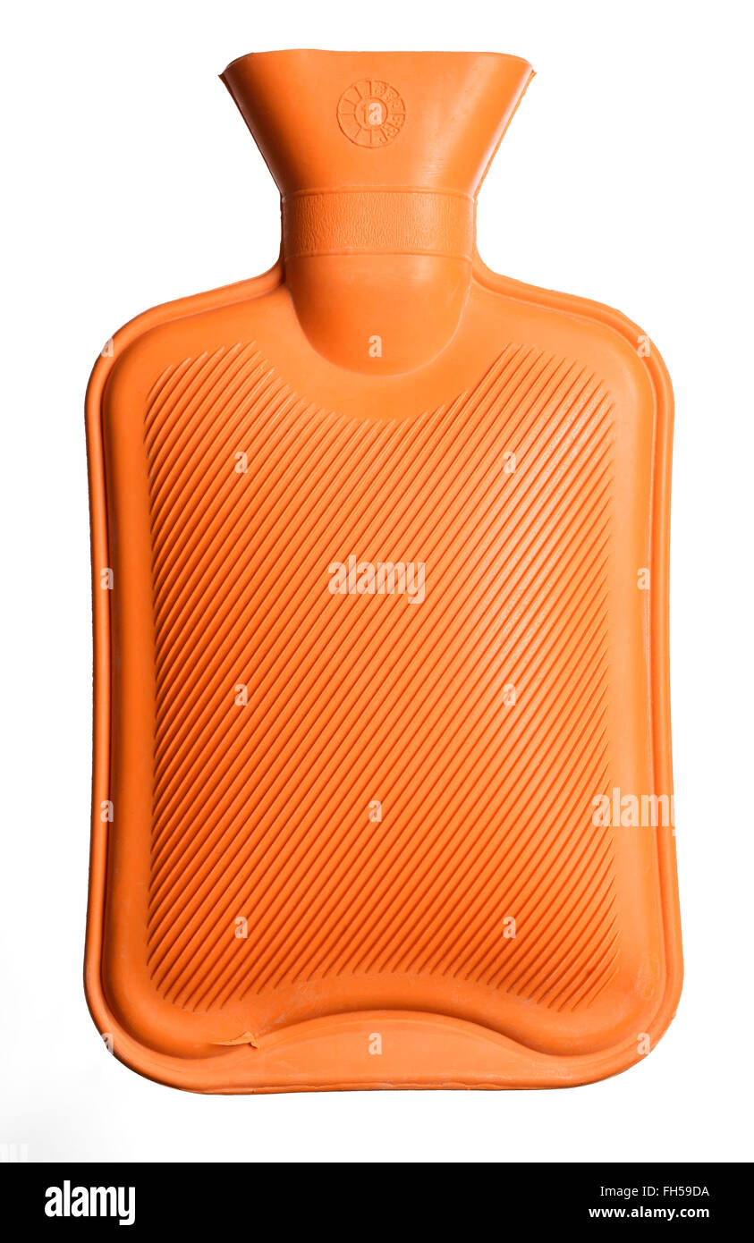 Orange rubber hot water bottle Stock Photo