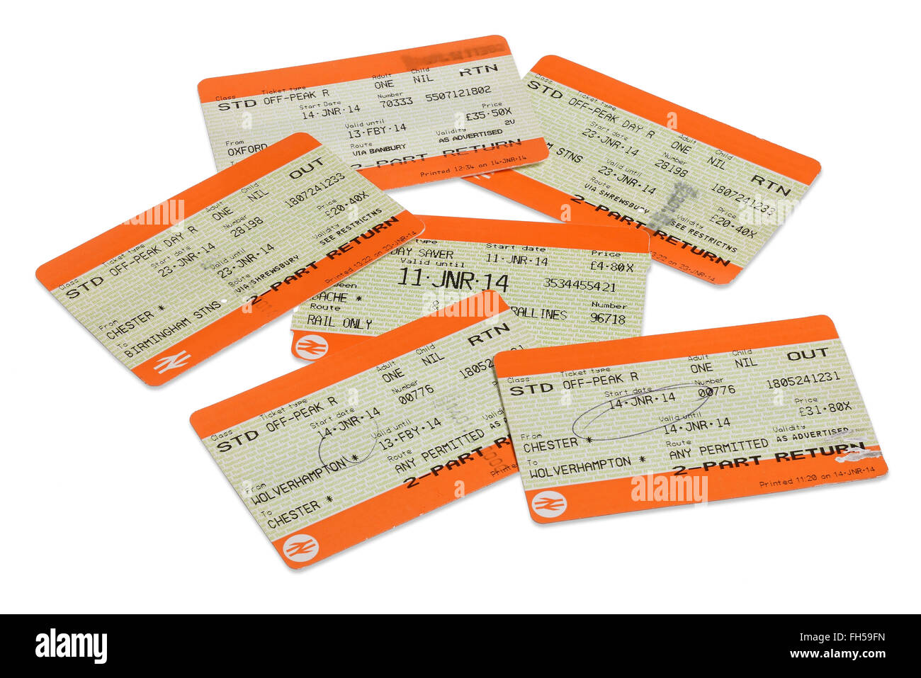 Collection of used tickets for UK rail journeys - Stock Image