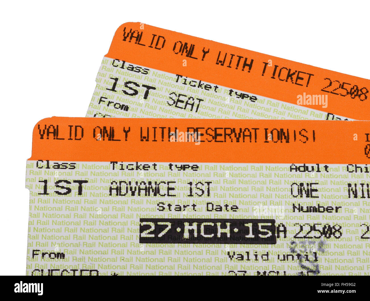 First class advance purchase train ticket - Stock Image