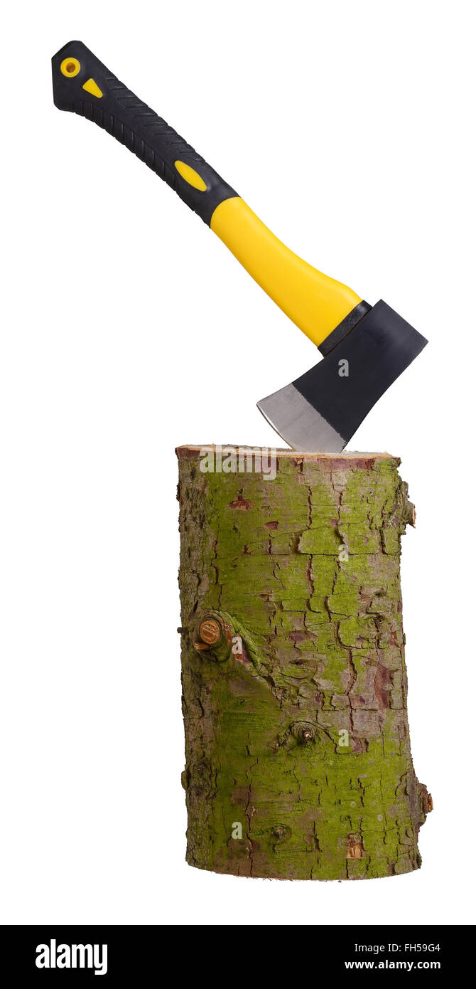 Small hand axe stuck in a log - Stock Image