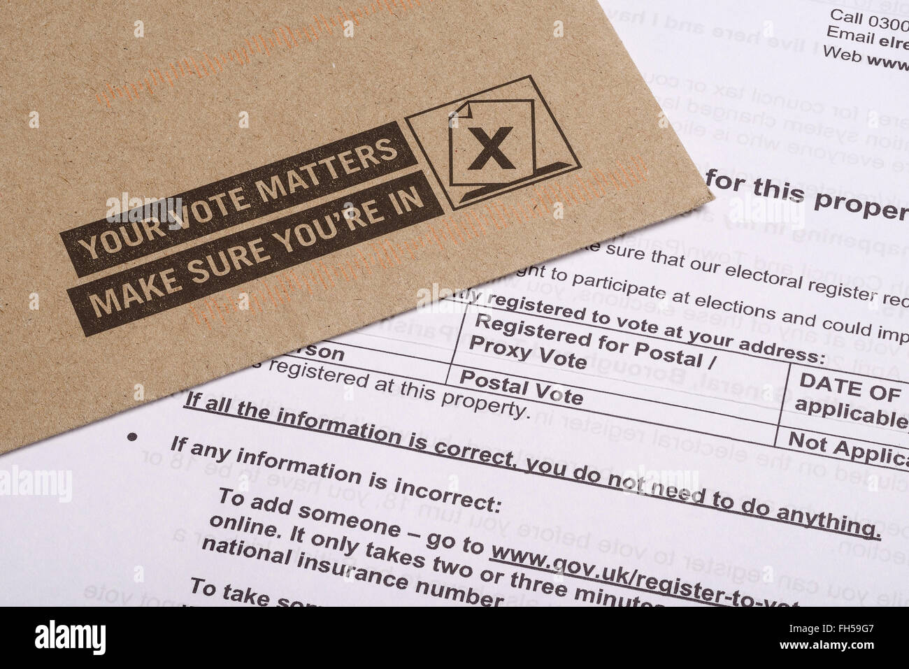 UK application form to register for a postal vote in forthcoming elections - Stock Image