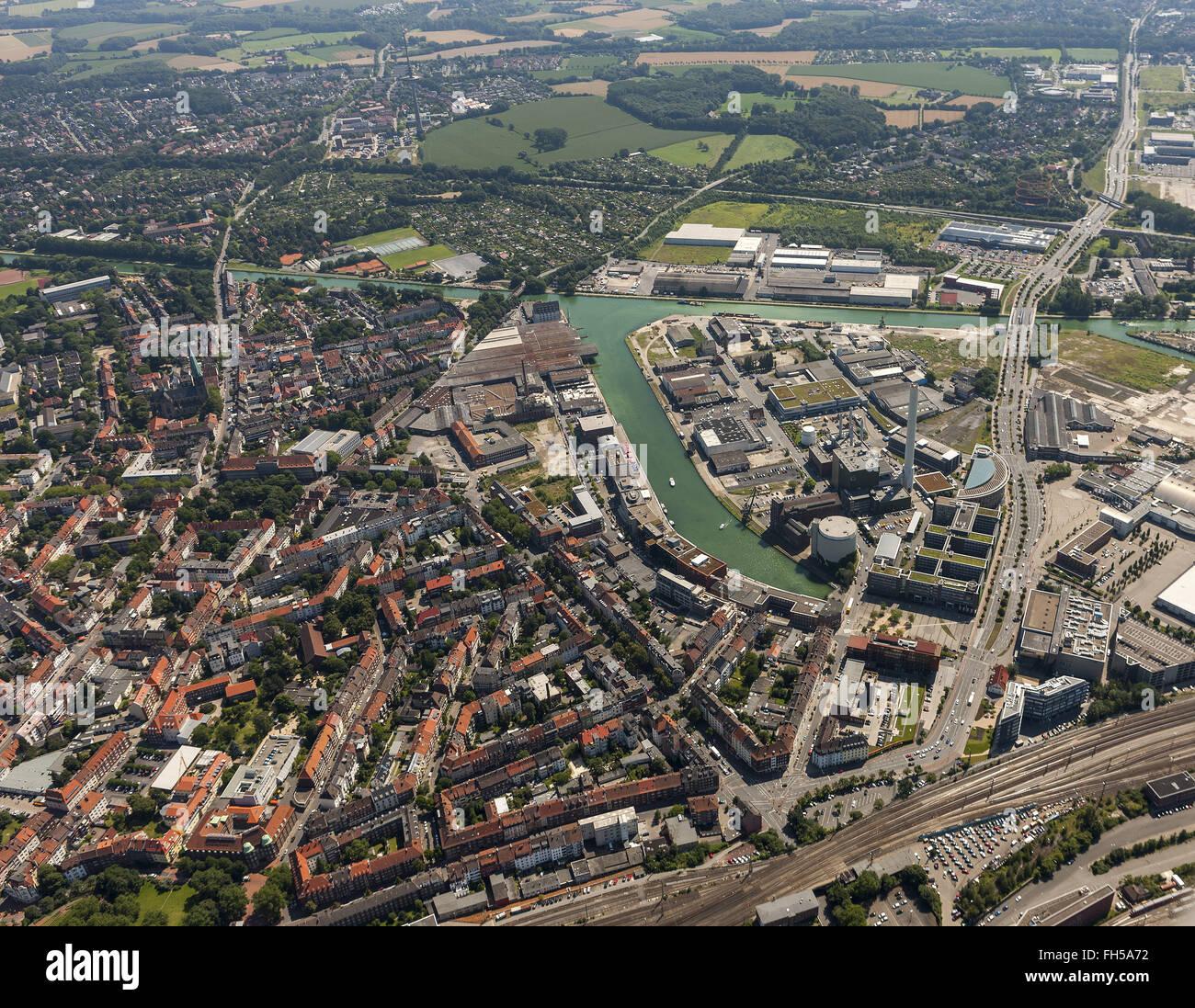 Aerial view, Münster Harbour, Dortmund-Ems Canal, Münster, Münsterland countryside, North Rhine-Westphalia, - Stock Image