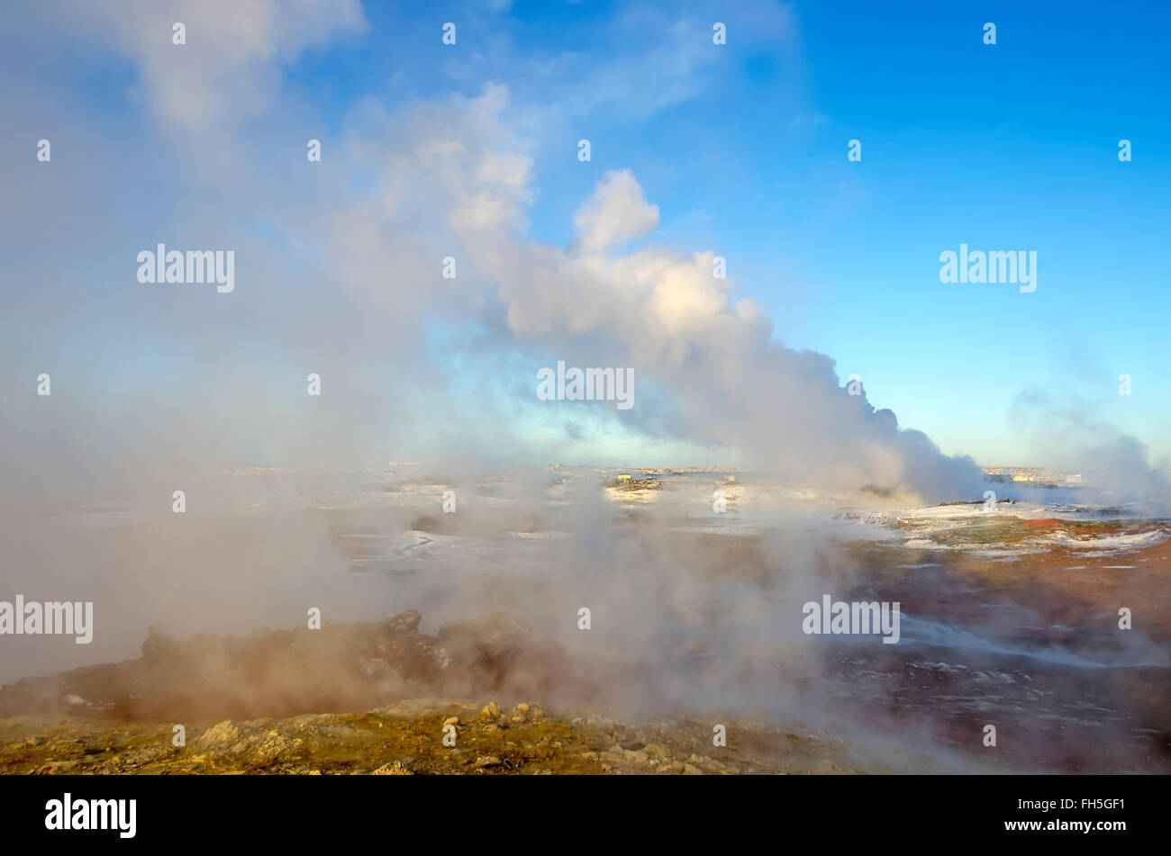 Gunnuhver geothermal area winter steam vents from boiling hot springs  Reykjanes Peninsula Iceland - Stock Image