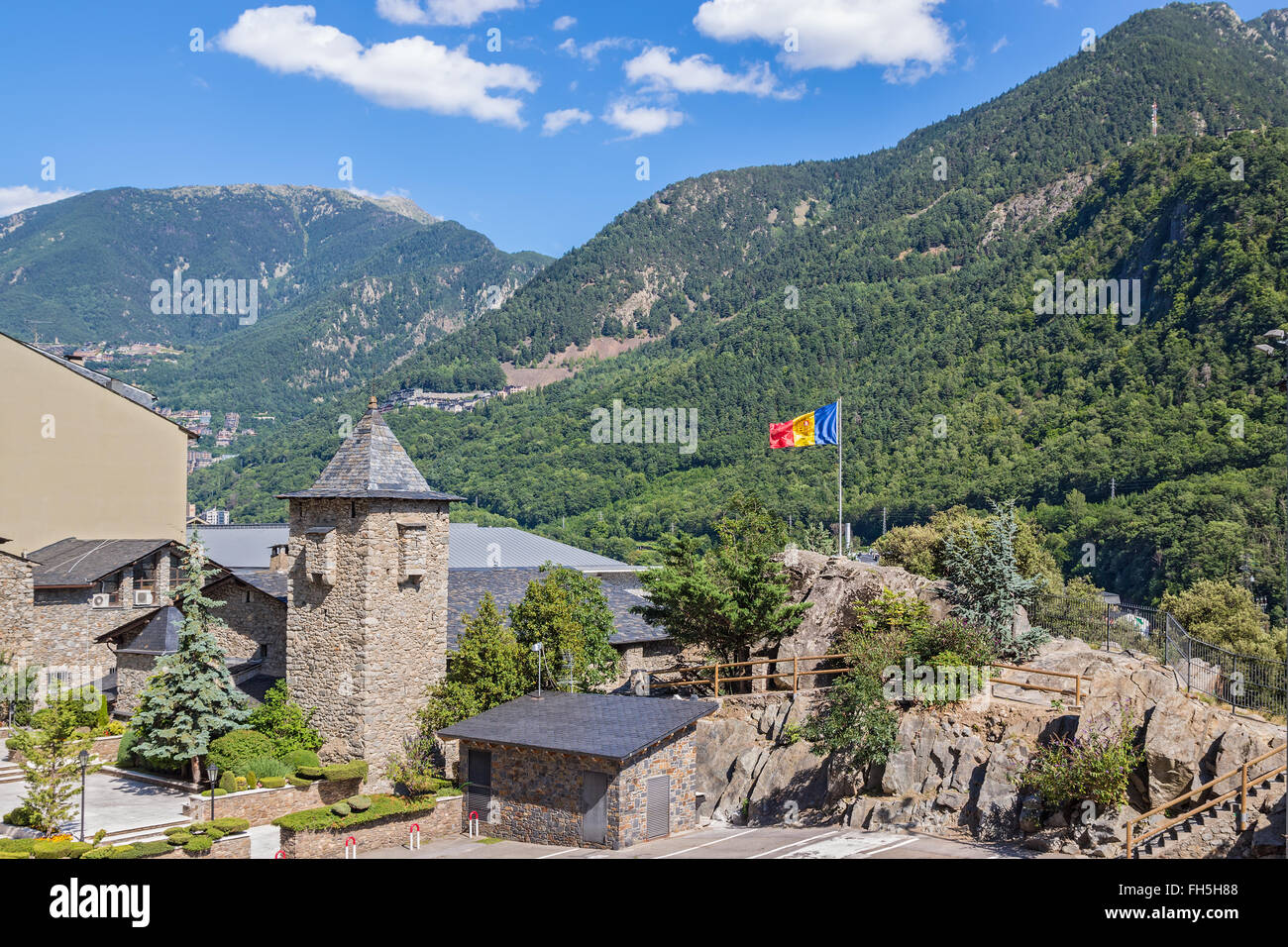 Andorra La Vella, capital of Andorra, surrounded by beautiful mountains. - Stock Image