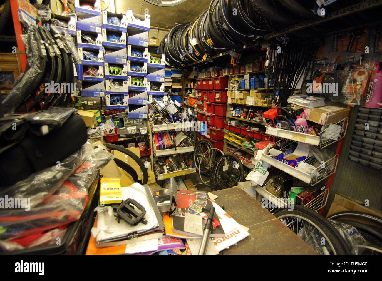 Inside A E Butterworth independent bicycle shop in Abbeydale, Sheffield England UK - 2016 - Stock Image
