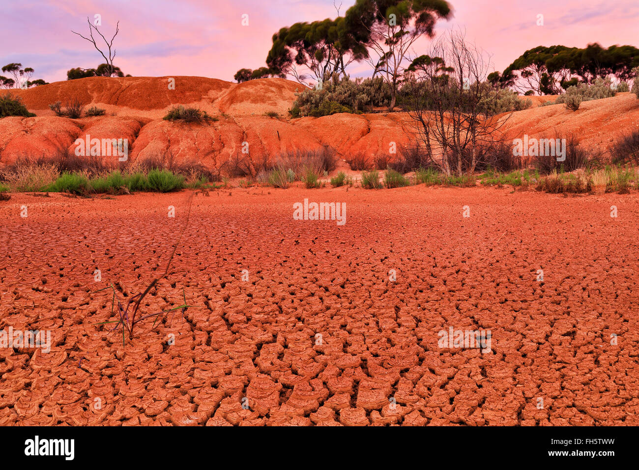 down to earth with red drought dirt soil of billabong in remote outback of Western Australia - Stock Image