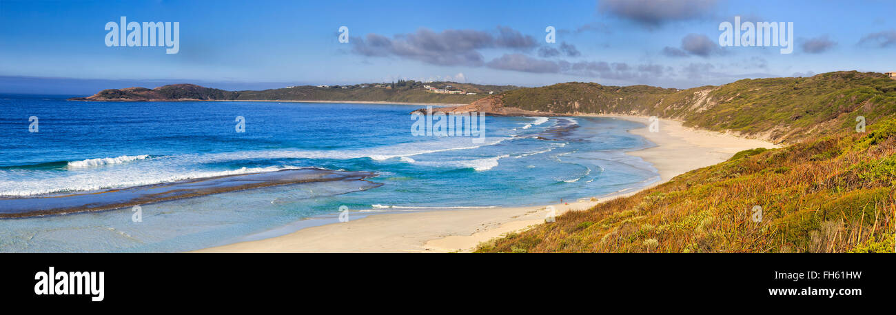 wide panorama of blue water and white sand bay near Esperance in Western Australia. Popular destination for scenic Stock Photo