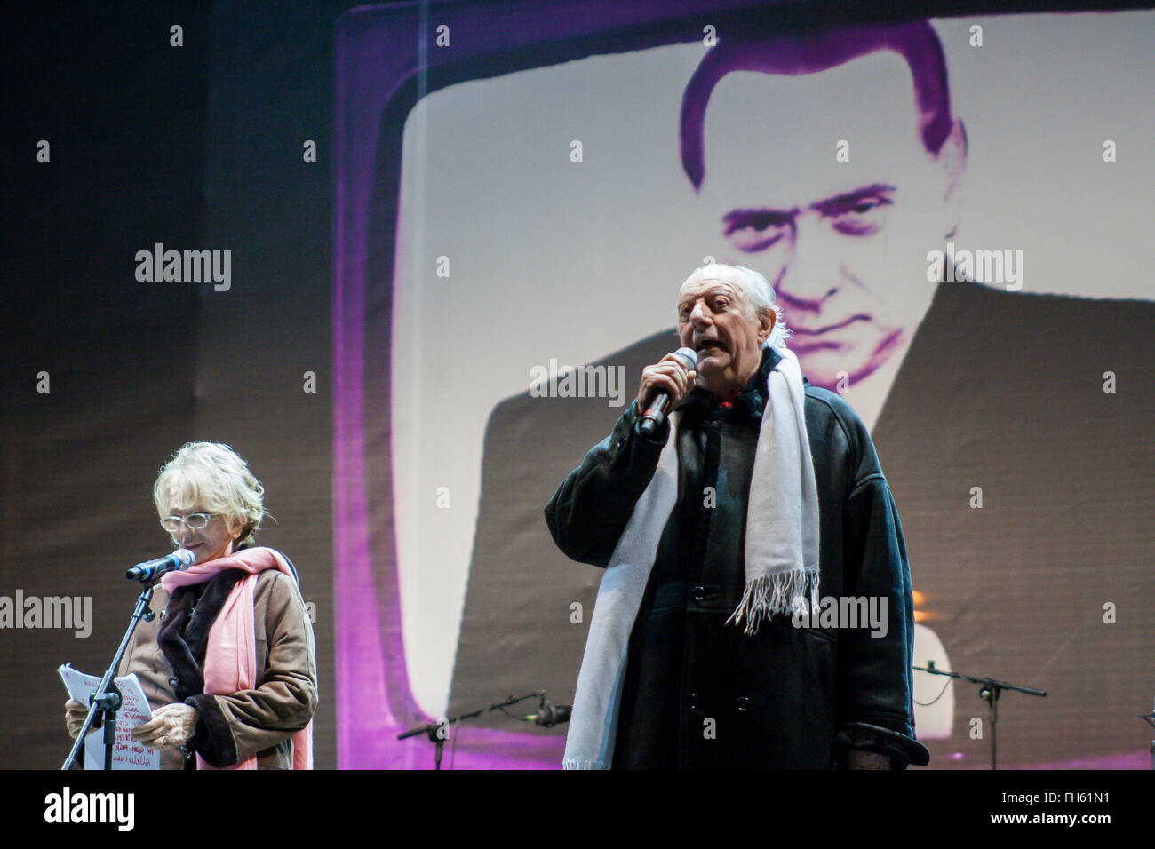 Dario Fo and Franca Rame during a NO B day in Roma (No Berlusconi Day) - Stock Image