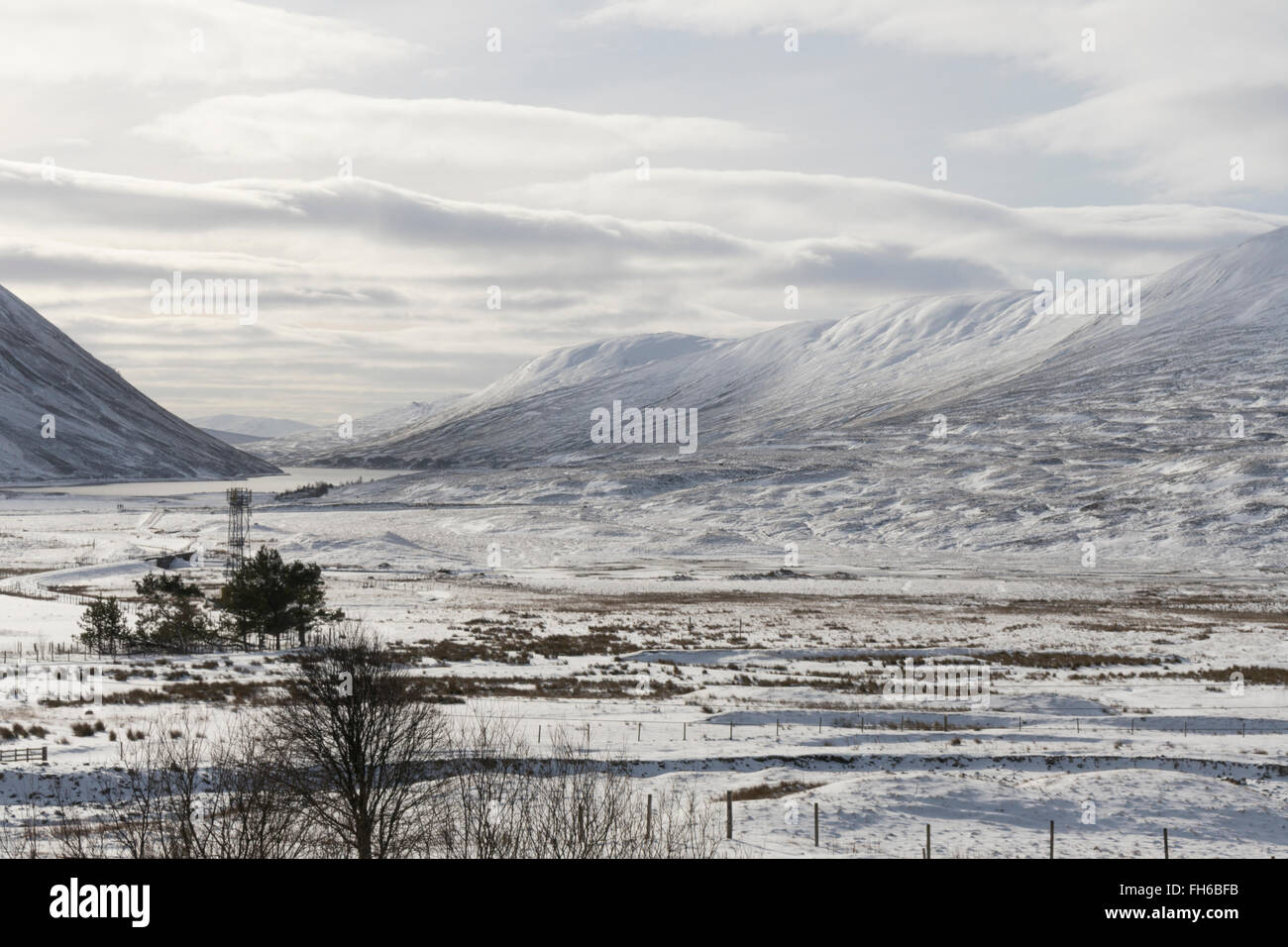 Scottish Highlands winter landscape looking southwest to Meall Doire and Ceann Dubh from Dalnaspidal,Perthshire,Scotland,UK, - Stock Image