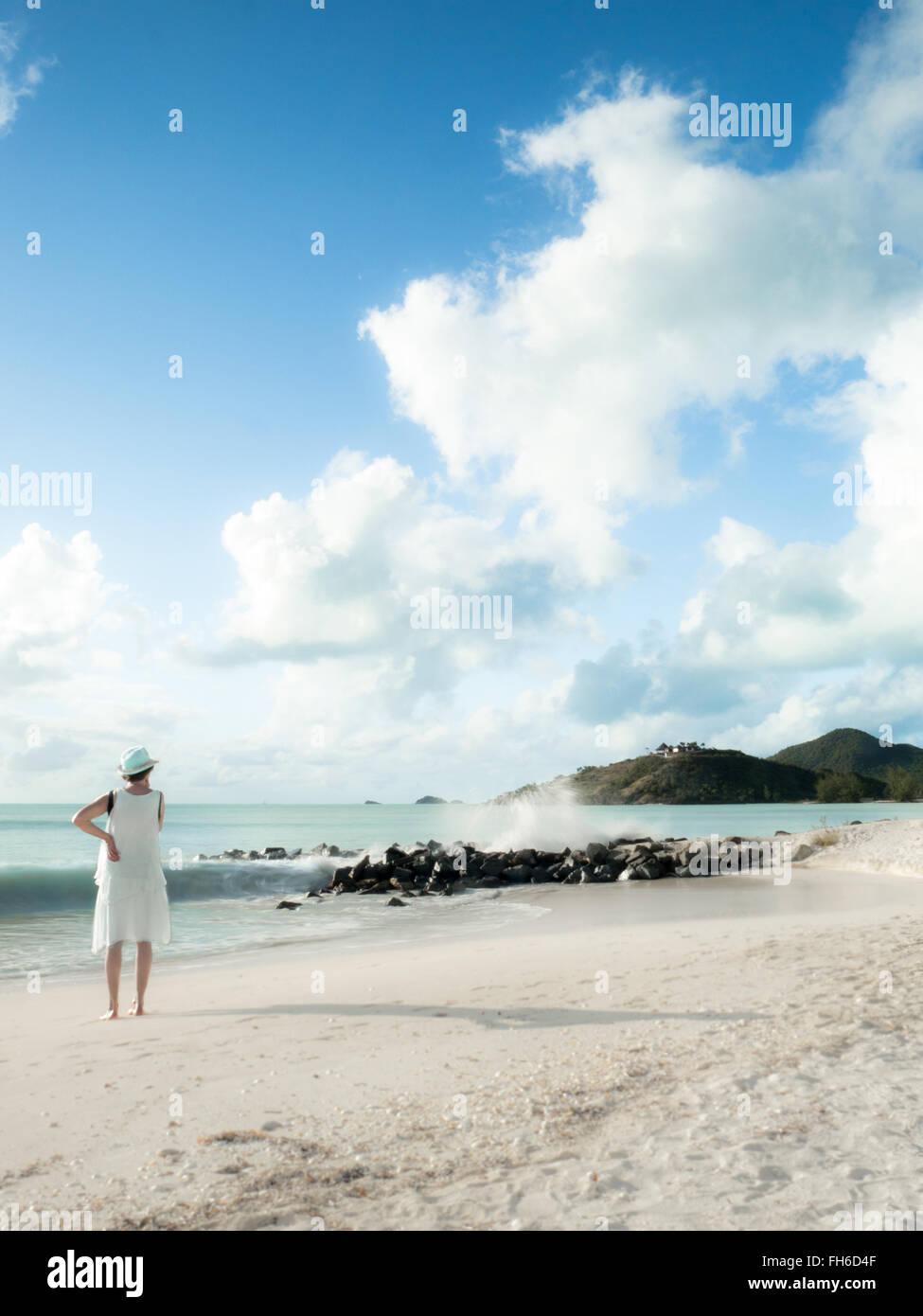Women enjoying beautiful Caribbean landscape - Stock Image