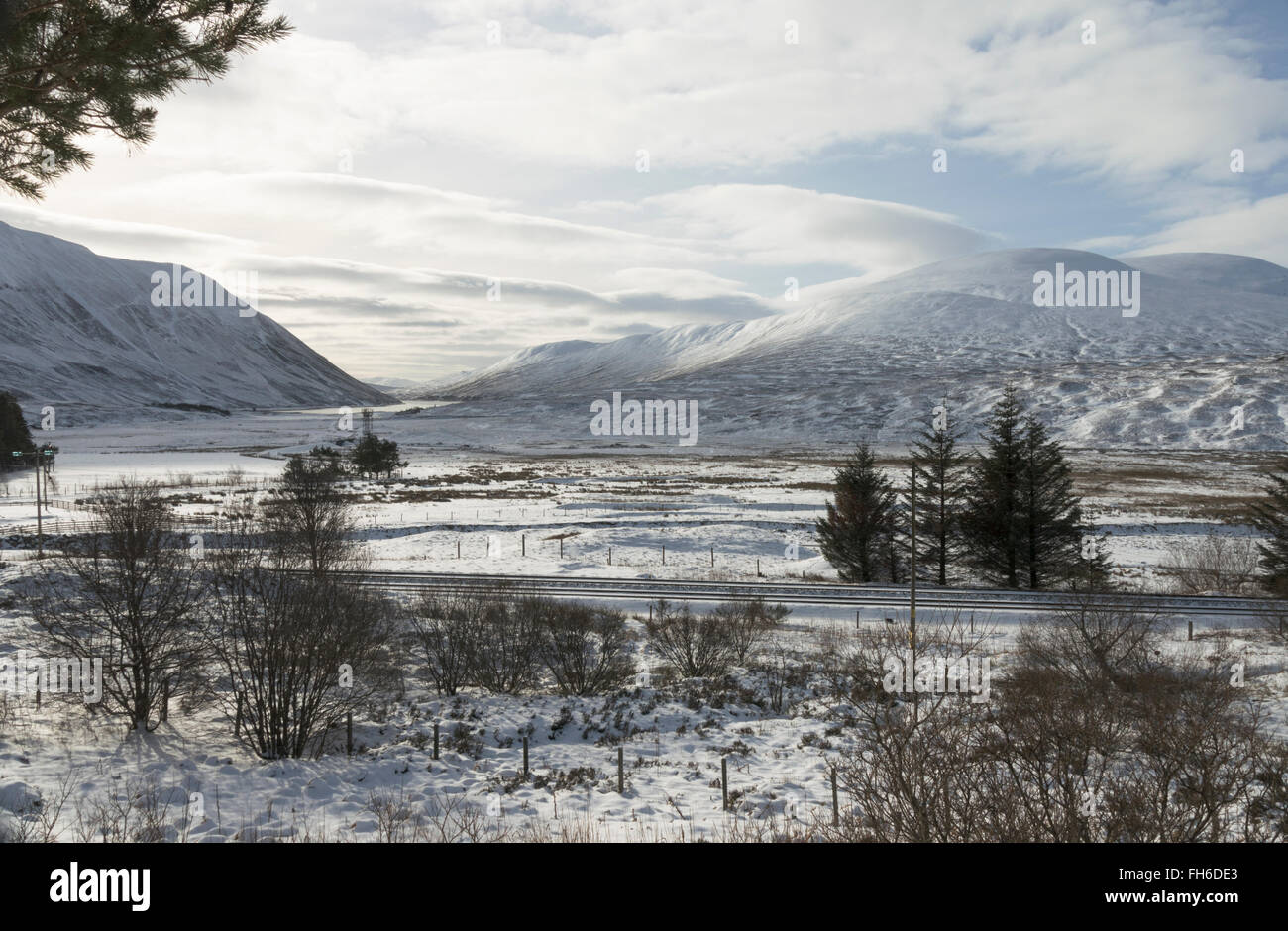 Scottish Highlands winter landscape looking southwest to river Garry and Loch Garry from Dalnaspidal,Perthsire,Scotland,UK, - Stock Image