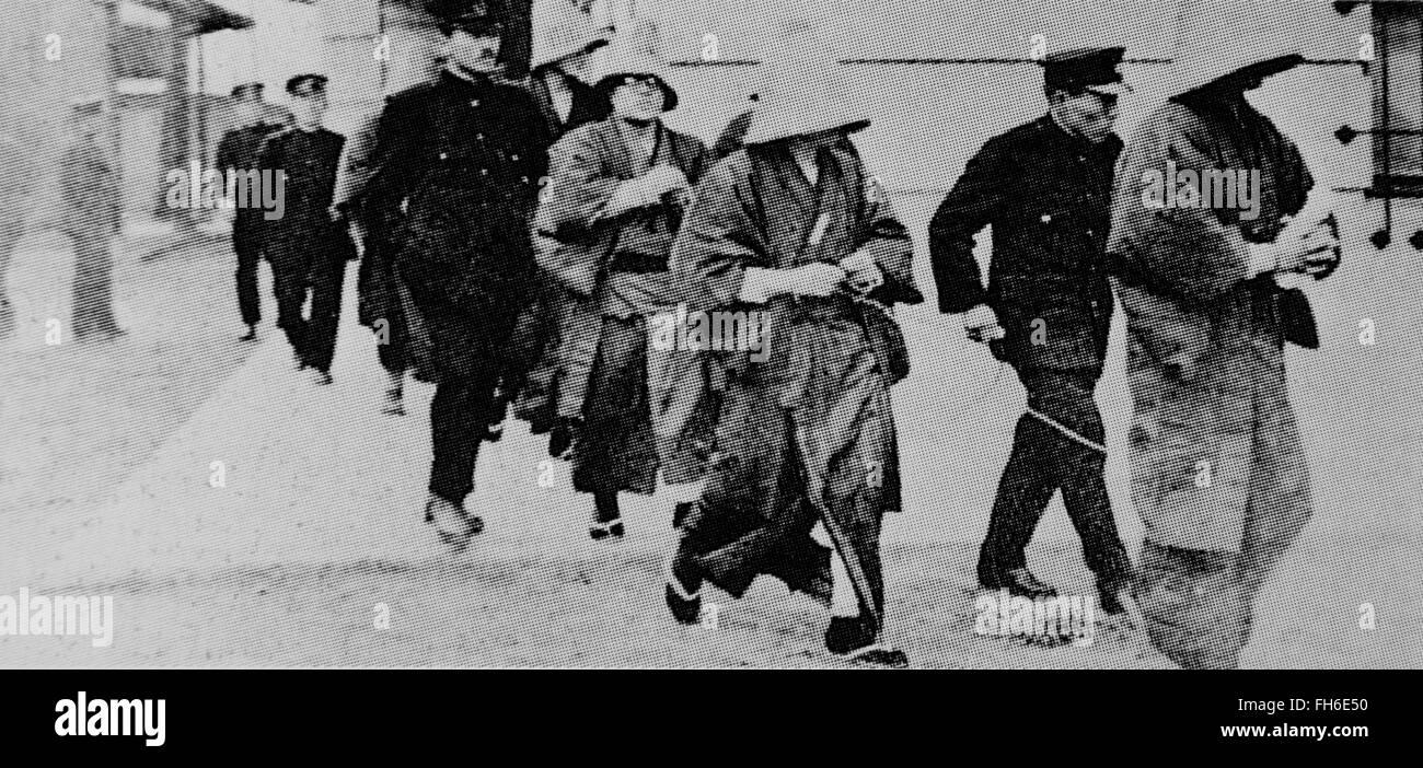 Arrested Communists based on Public Security Preservation Law of 1925,Tokyo,Japan. - Stock Image