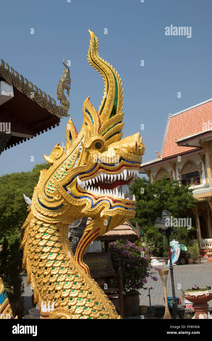 Naga, mythical serpent, guards against bad spirits -closeup near Chaing Mai, Thailand - Stock Image
