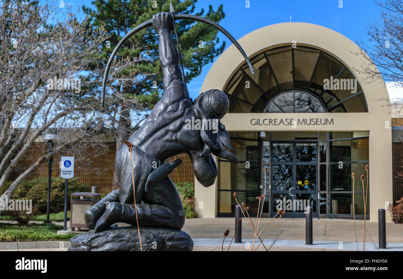 Sacred Rain Arrow statue at entrance to Gilcrease Museum - Stock Image