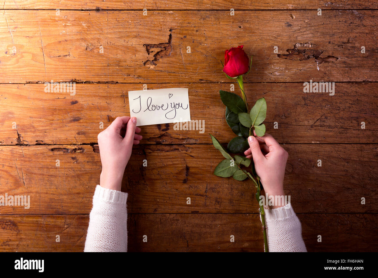 Woman's hands holding red rose and a notice 'I Love You' - Stock Image