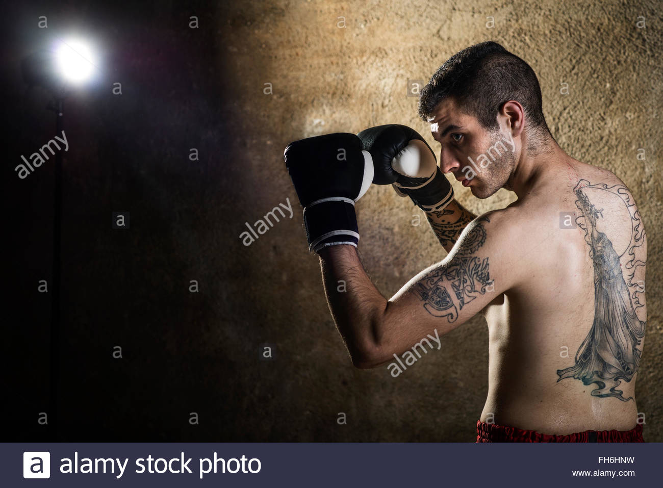 Muay thai fighter posing - Stock Image