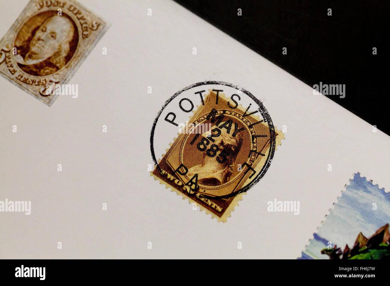 US Postmark on stamp - USA - Stock Image