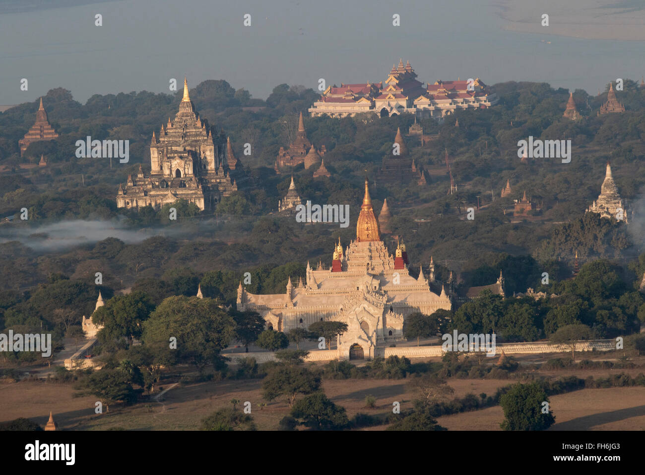 Aerial view of pagodas and shrines in the Archeological Zone Bagan,Myanmar - Stock Image