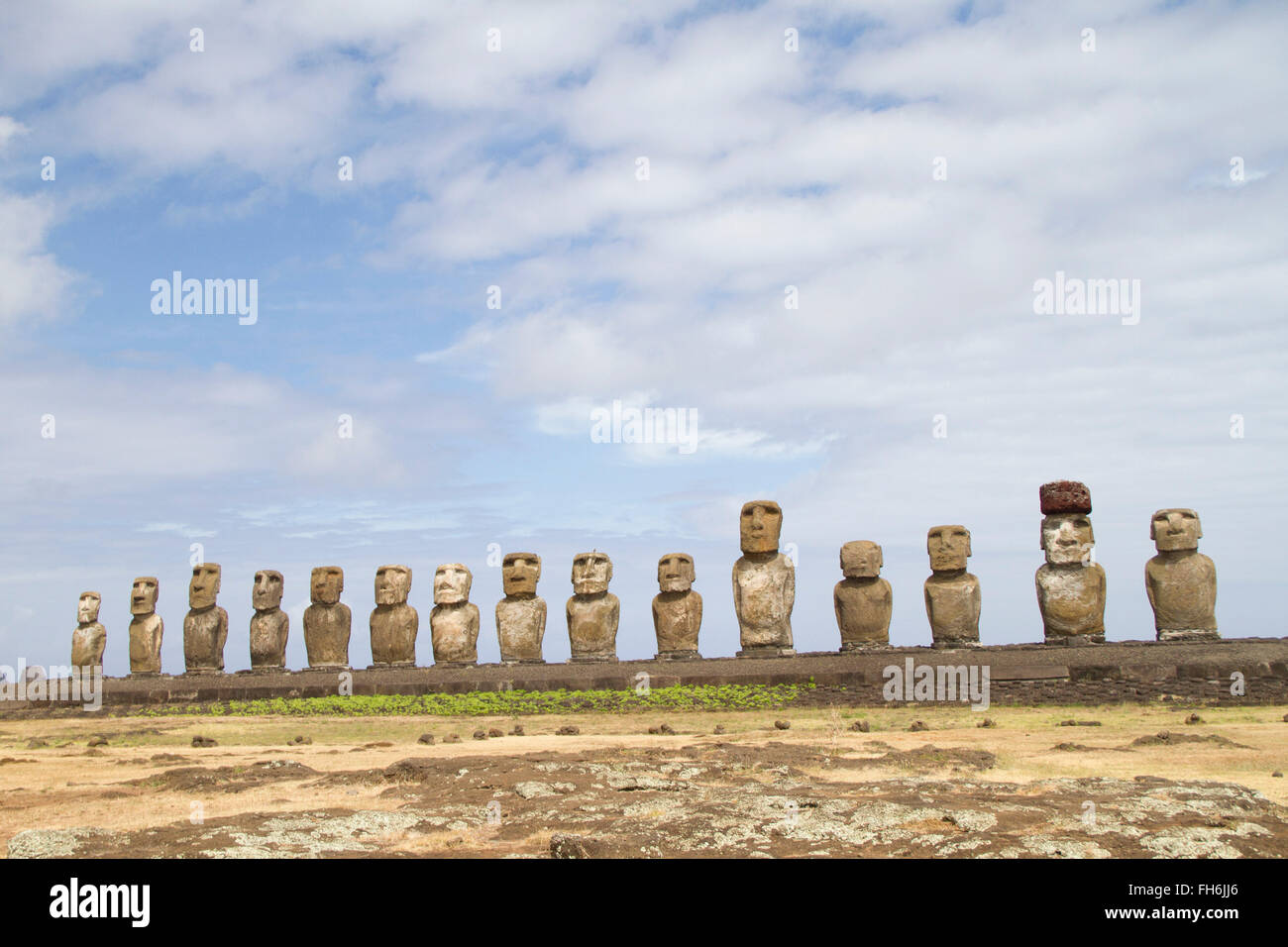 Fifteen moai (statues) on platform at Ahu Tongariki Easter Island, Chile - Stock Image