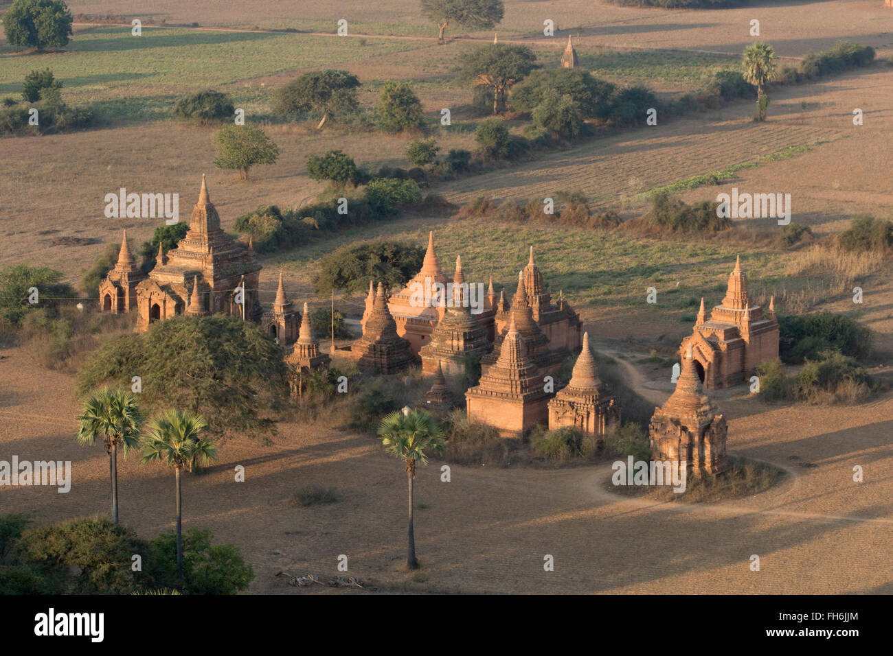 Thousands of smaller shrines and pagodas cover the Archeological Zone Bagan,Myanmar - Stock Image
