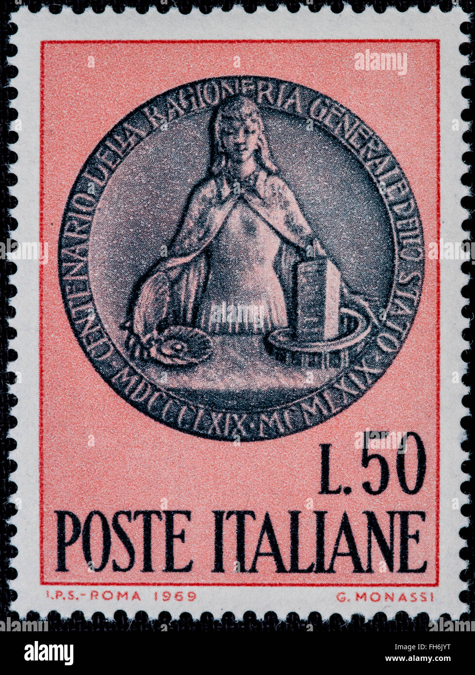 1969 - Italian mint stamp issued to commemorative. Lire 50 Stock Photo