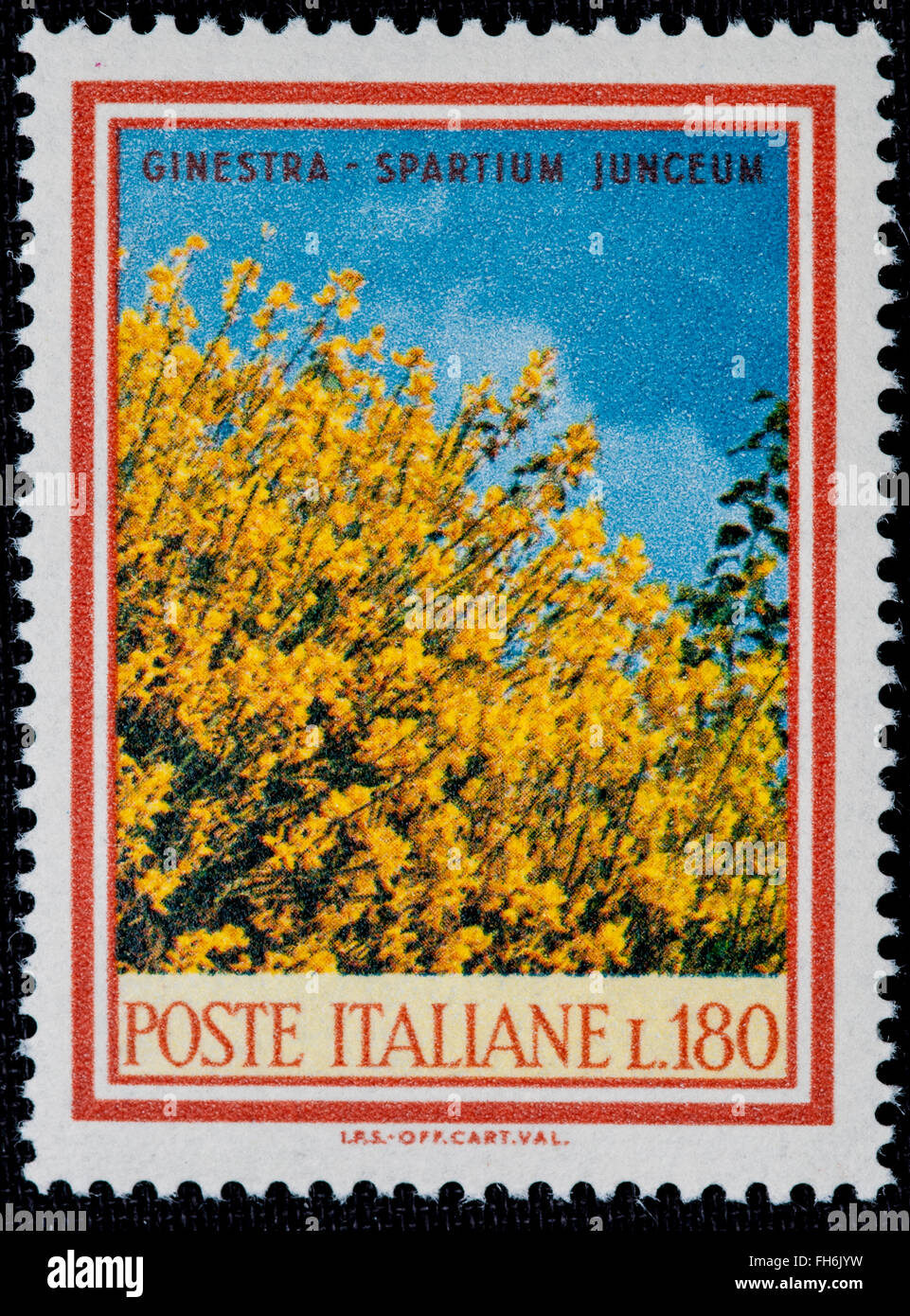 1969 - Italian mint stamp issued to commemorate the Ginestra plant Lire 180 Stock Photo
