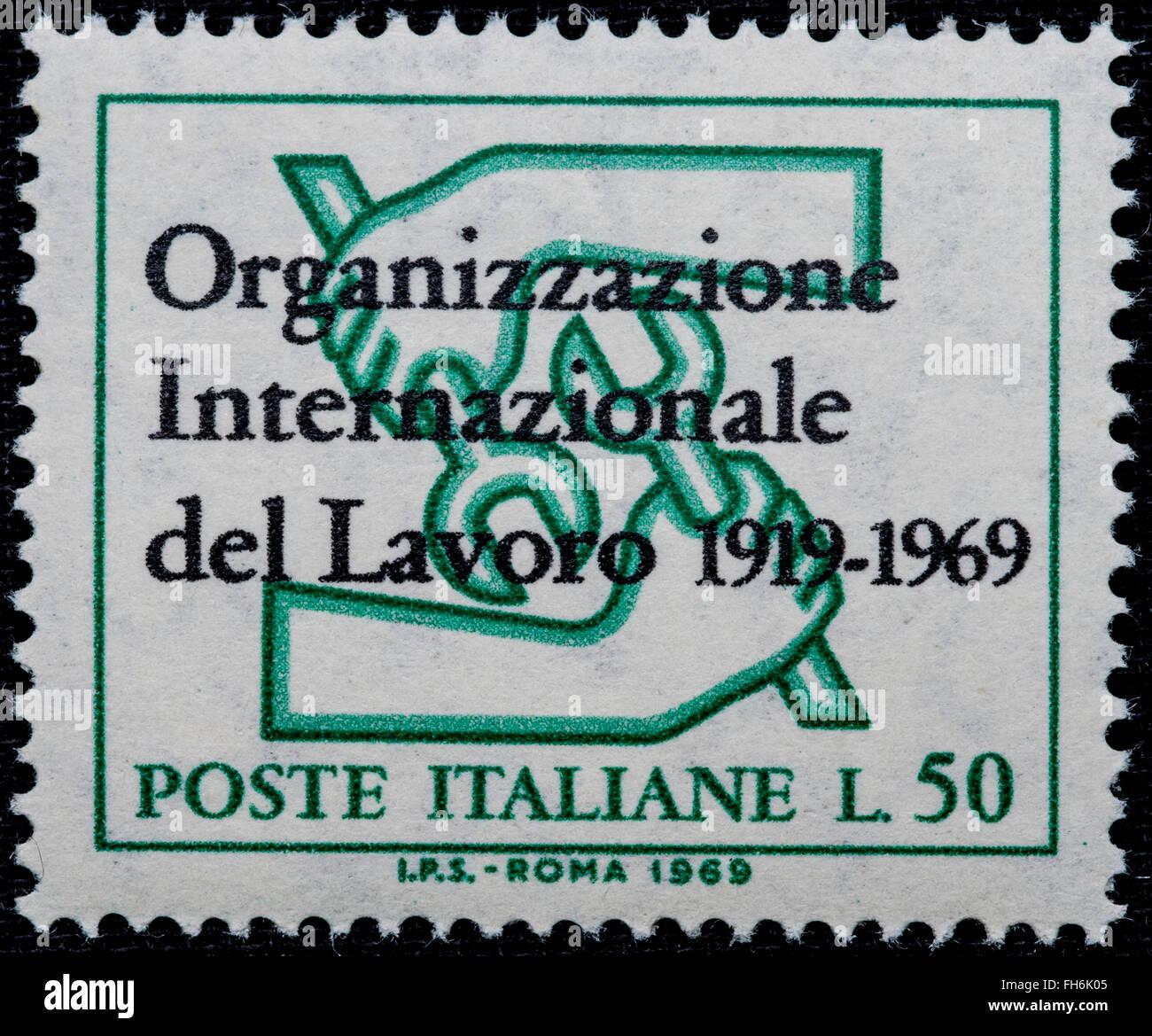 1969 - Italian mint stamp issued to commemorate International Work Organization Lire 50 Stock Photo