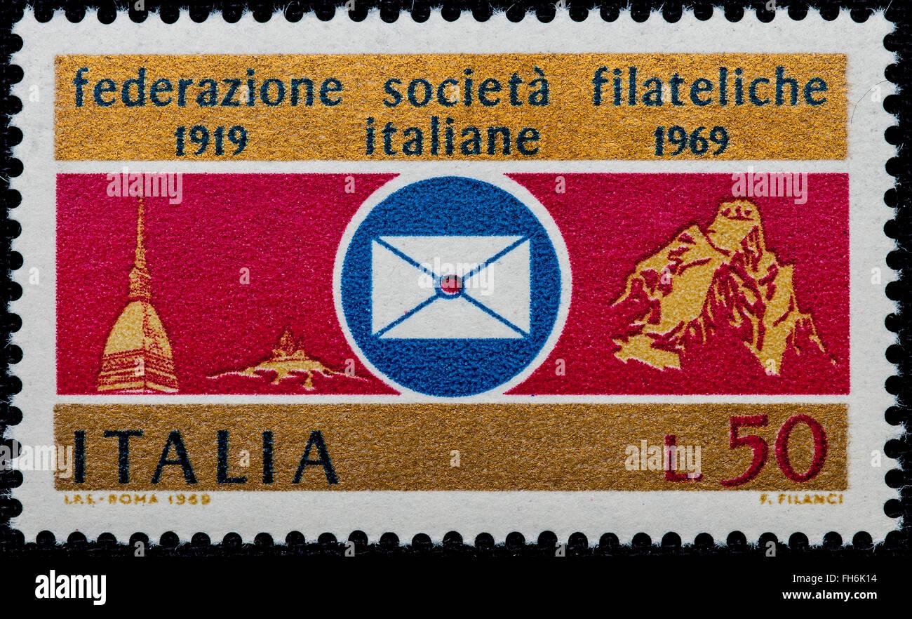 1969 - Italian mint stamp issued to commemorate the Italian Philatelic Societies. Lire 50 - Stock Image