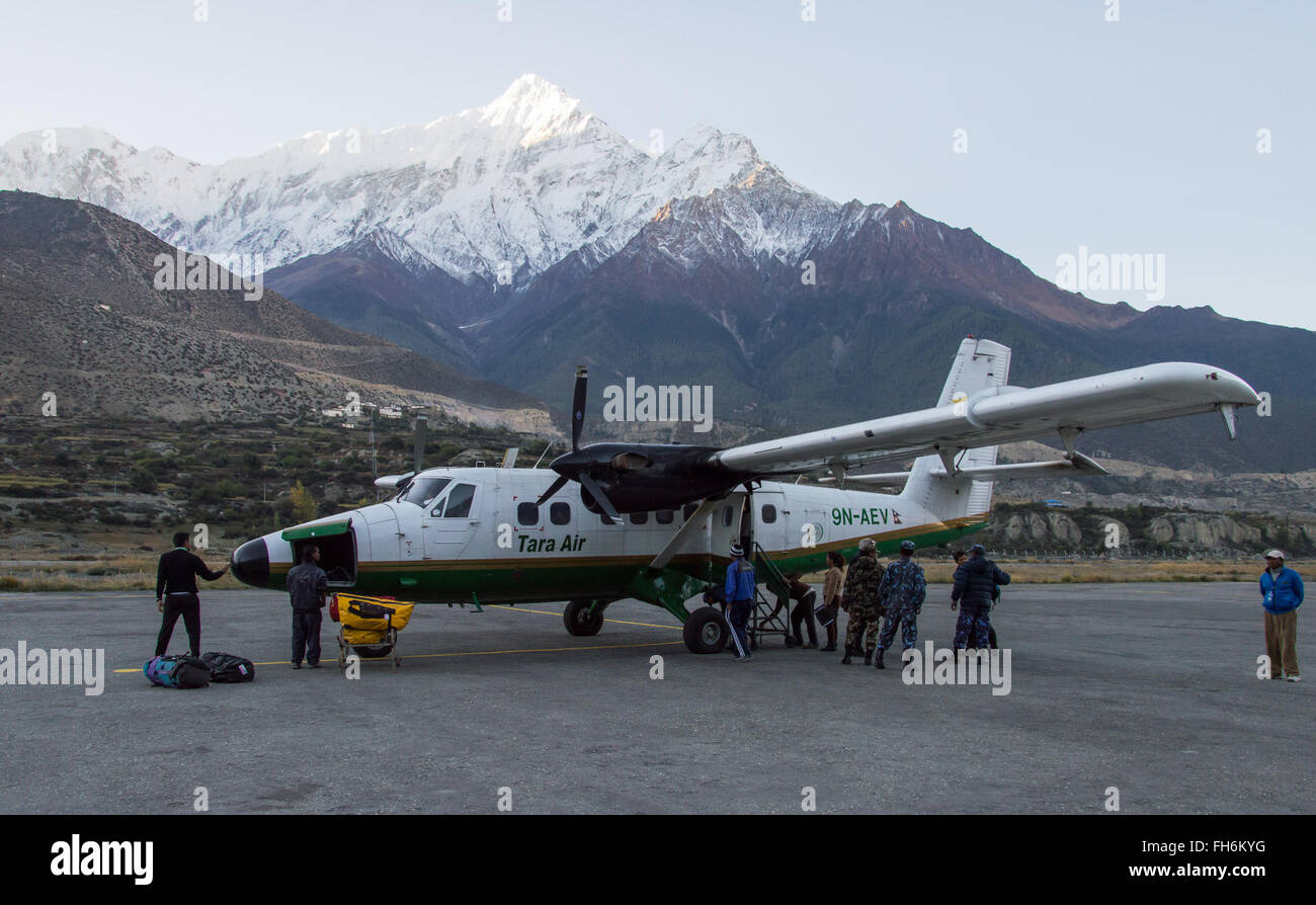 Jomsom. 24th Feb, 2016. Undated file photo shows a Twin Otter plane landing at Jomsom, Mustang, Nepal. Search operation - Stock Image