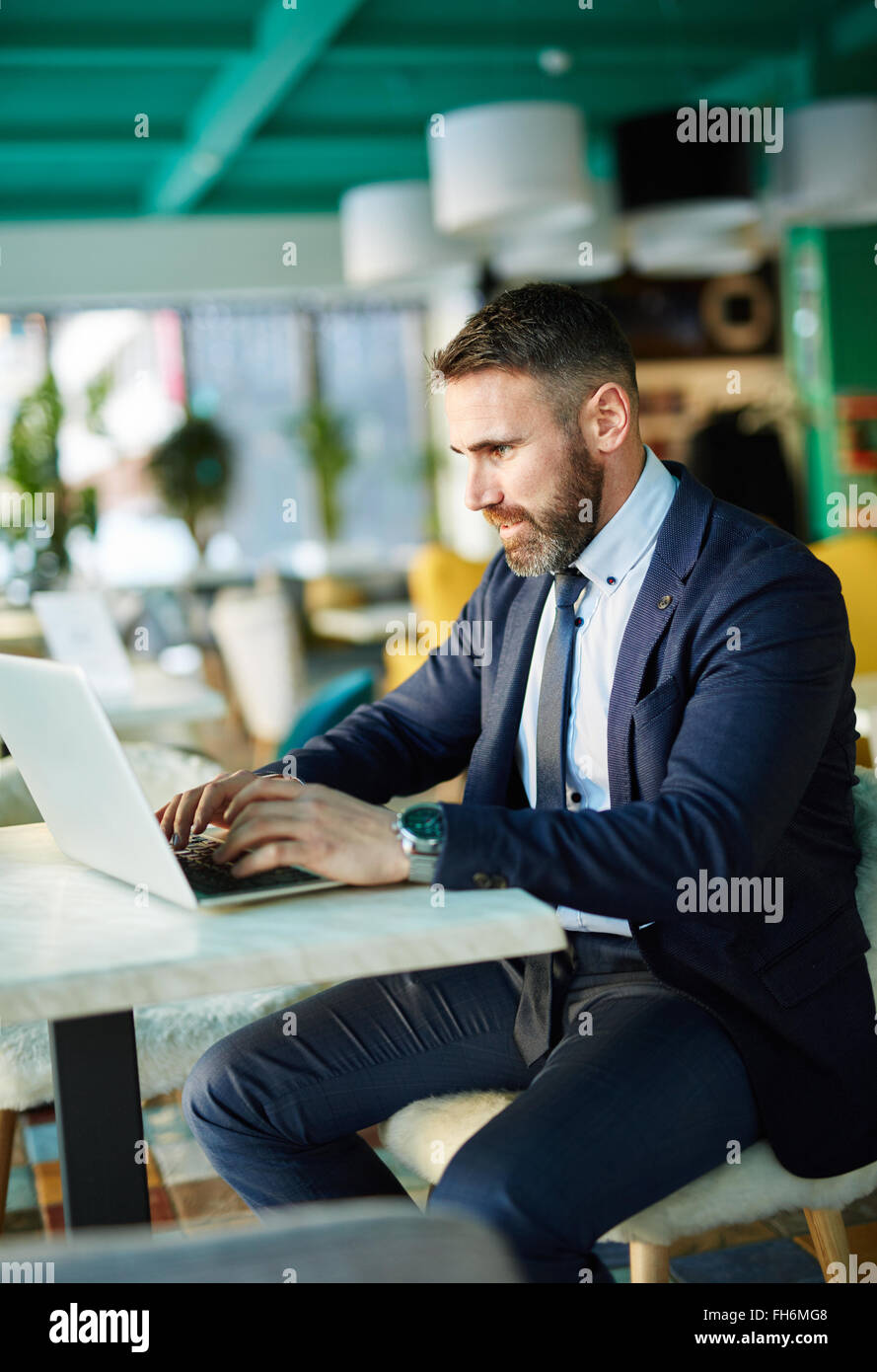 Contemporary businessman networking on laptop - Stock Image