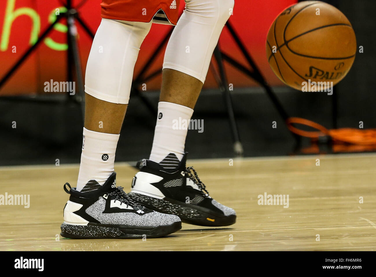 DAMIAN LILLARD (0) wears his new colorway   static   of his Adidas shoe the D  Lillard 2 during warmups. The Portland Trail Blazers hosted the Brooklyn  Nets ... 9cf64659c