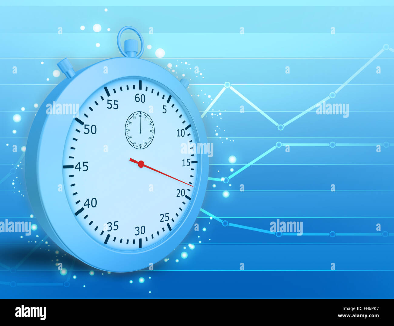 Conceptual illustration of stopwatch and graph lines on rear background - Stock Image