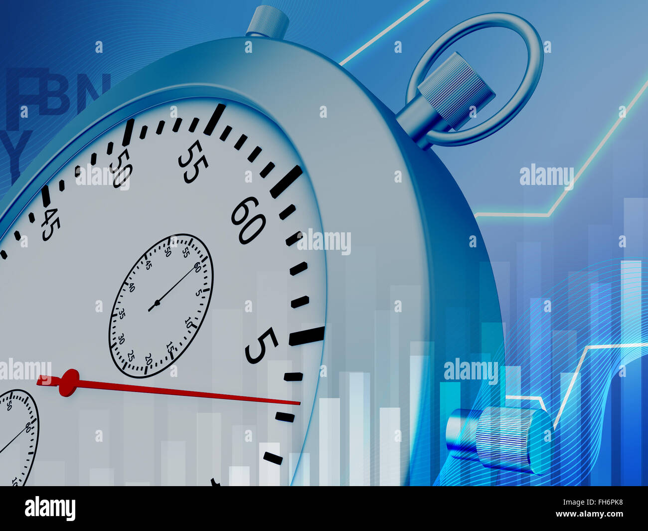 Conceptual illustration of a stopwatch and graphs - Stock Image