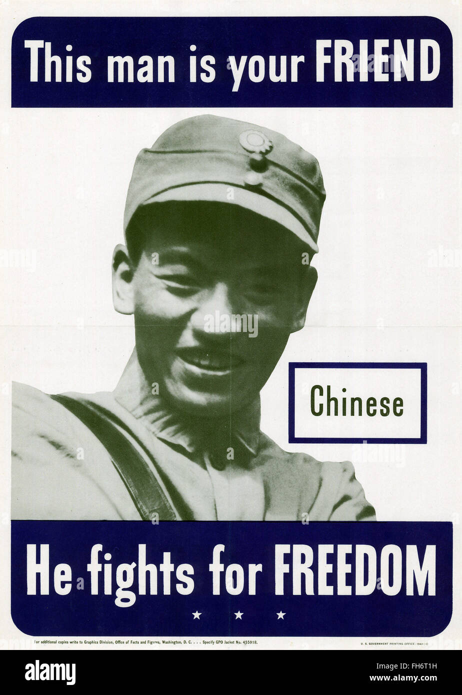 This Man is your Friend - Chinese - US Propaganda Poster - WWII - Stock Image