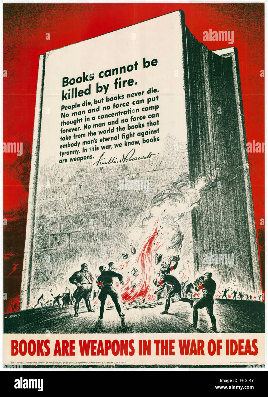 Books Are Weapons in the War of Ideas- US Propaganda Poster - WWII - Stock Image