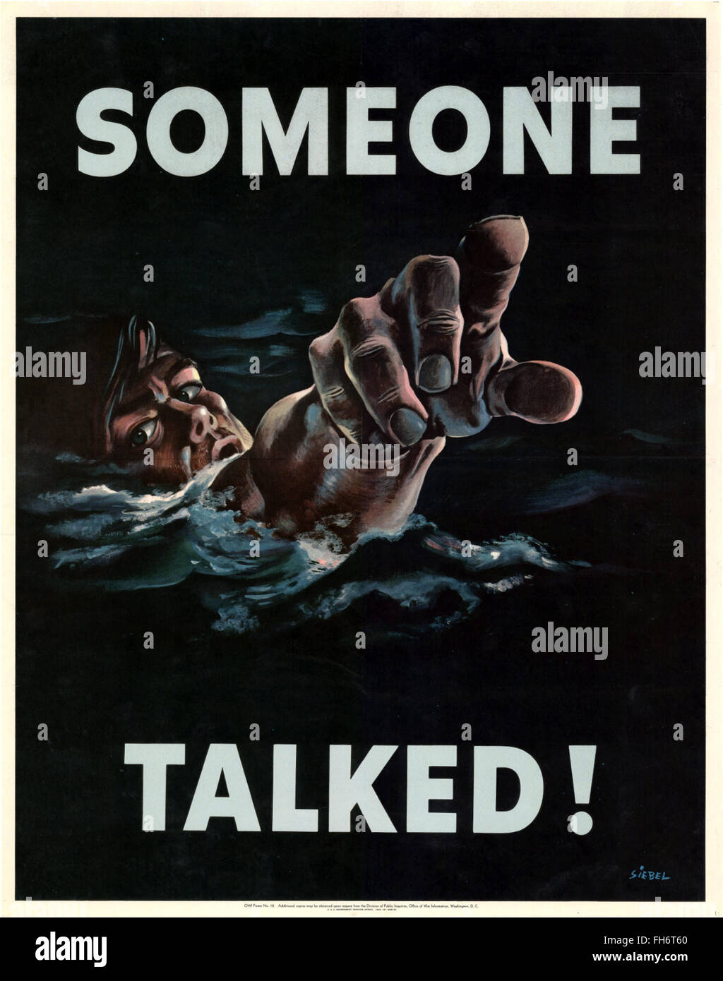 Someone Talked ! - US Propaganda Poster - WWII - Stock Image