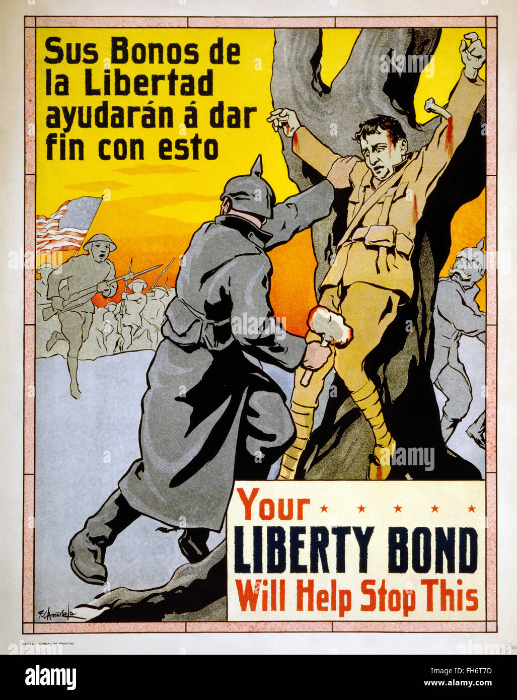 Your Liberty Bond will help stop this  - US Propaganda Poster - WWI - Stock Image