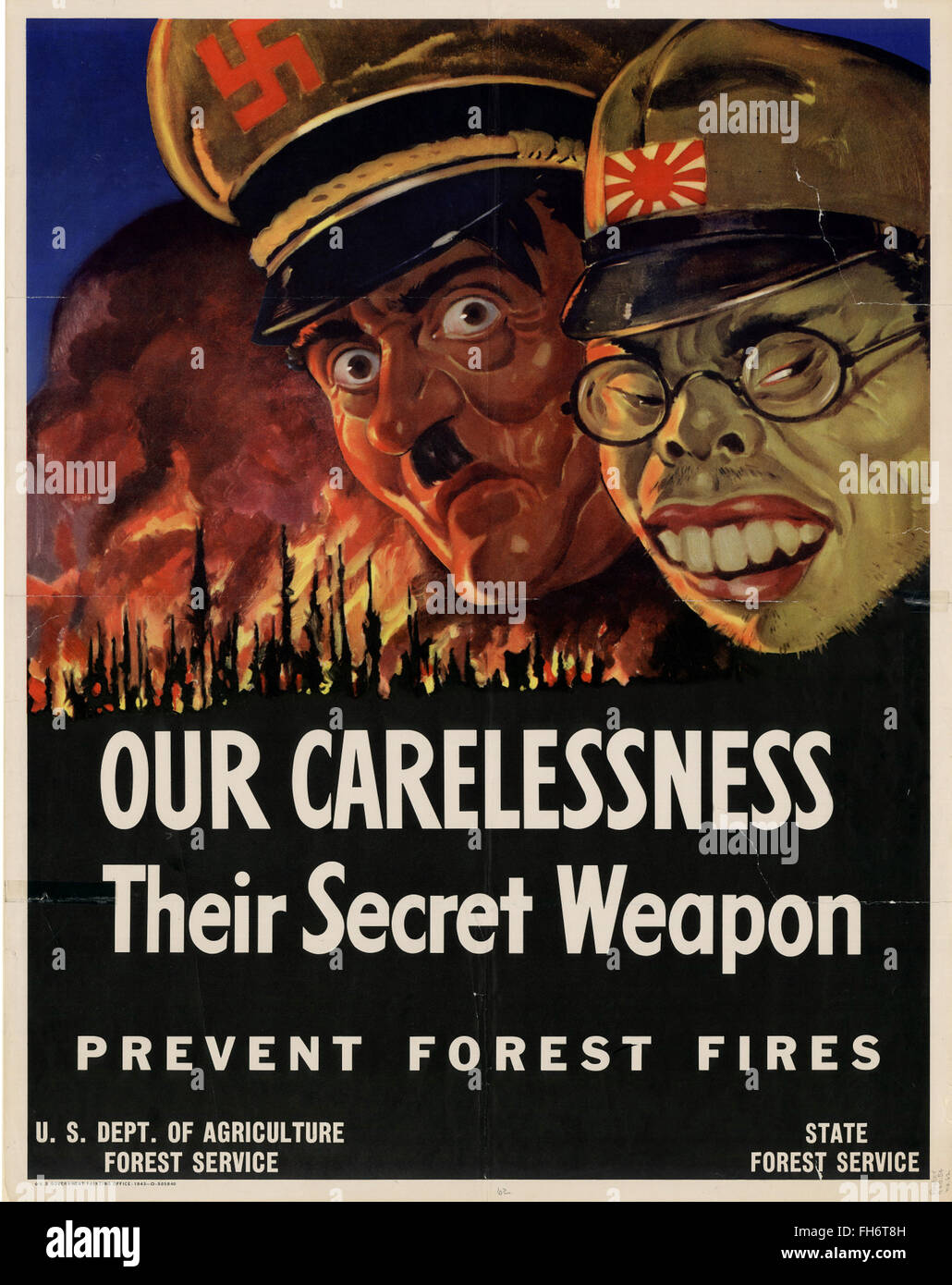 Our Carelessnes Their Secret Weapon - US Propaganda Poster - WWII - Stock Image